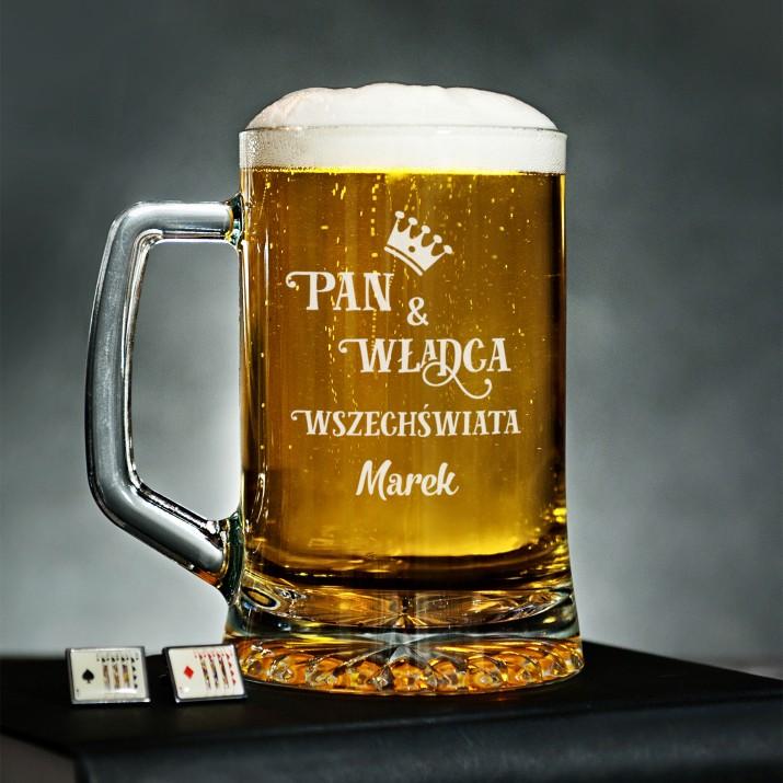 Kufel do piwa z grawerem - Pan i Władca Wszechświata