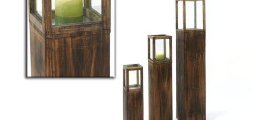 Lampiony drewniane - komplet 3 szt.