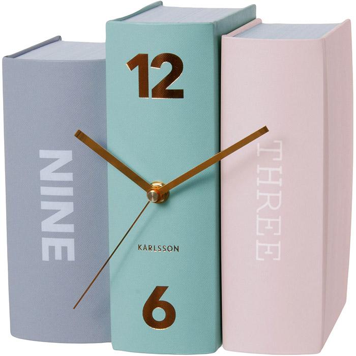 Pastelowy zegar stołowy Book Karlsson